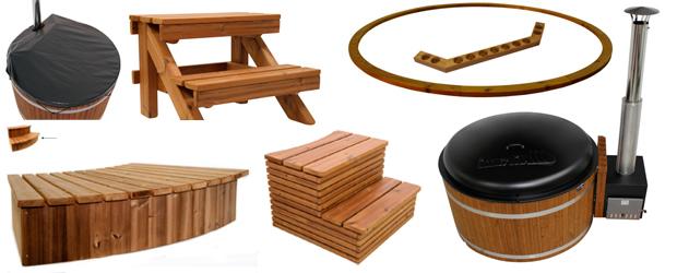 Detalle de accesorios para spa Woody, de Kirami